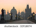 czech republic prague, charles bridge at dawn - stock photo