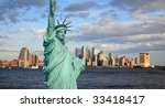The Statue of Liberty and Lower Manhattan Skyline New York City - stock photo