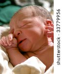 newborn baby girl, ten minutes old - stock photo