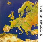 Bird's-eye view of Europe - stock photo