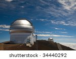 The Gemini and UK Infrared Observatories  atop the Mauna Kea volcano in Hawaii Big Island. - stock photo