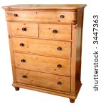 Country Pine Chest of Drawers in Golden Finish - stock photo