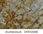 Close up view of a mossy rock. - stock photo