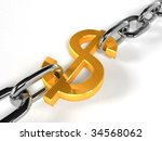 gold dollar sign on a chrome chain (3d rendering) - stock photo