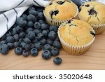 Freshly baked blueberry muffins. - stock photo