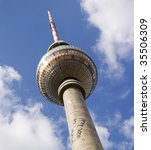 Perspective view up of Berlin TV tower or Fernsehturm , Alexanderplatz, Germany - stock photo