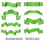 Collection of 8 green banners on white background. Illustration. - stock photo