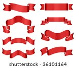 Collection of 8 red banners on white background. Illustration. - stock photo