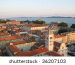 Aerial view on Zadar city, old parts of town, situated on the waterfront - stock photo