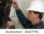 electrician technician - stock photo