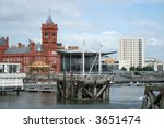 Cardiff Bay, showing the newly-opened Welsh Assembly building. - stock photo