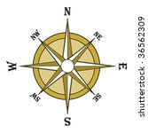 Brown compass rose. Illustration, vector file available - stock vector