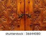 Beautiful hand carved wooden door in Marrakech, Morocco - stock photo