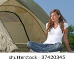 woman tent camping - stock photo