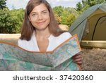 woman tent camping map - stock photo