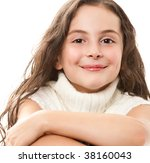 teen girl on white - stock photo