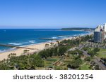 Beachfront scenic view from hotel with piers - stock photo