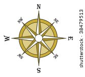 Brown compass rose. Illustration, on a white background - stock photo