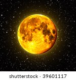 Halloween Orange Full Moon with stars in the background - stock photo