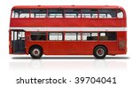 Red double Decker London bus isolated on white with a clipping path - stock photo