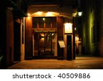 night restaurant and hotel in barcelona, spain, catalonia - stock photo