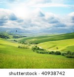 Mountain landscape with road - stock photo