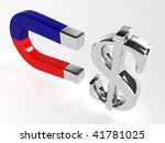 magnet with dollar signs over white - stock photo