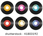 Vintage vinyl record set isolated on white background - stock vector