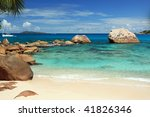 Seychelles seascape. Praslin island. Anse Lazio - stock photo
