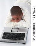 african american child on laptop computer - stock photo