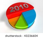 3d Circular diagram colorful 2010 - stock photo