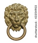 Old medieval bronze door knocker in shape of lion head isolated on white background - stock photo