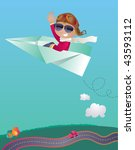Vector illustration of a cute boy flying  a giant paper plane. Goggles and sunglasses are in different layers... maybe just one pair of eye-wear is enough? :-) - stock vector