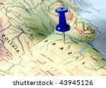 map of Brazil with a blue tag on it - stock photo