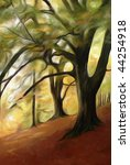 Impressionist painting of woodland in Autumn. - stock photo