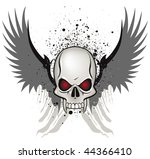 Evil skull emblem on white background - stock vector