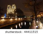 Notre Dame church over the Siene River - stock photo