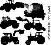 Set of vector silhouettes of tractor and combine - stock vector