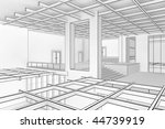Illustration of a modern interior in a blueprint style - stock photo