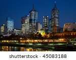 Night illumination in center of Melbourne city - stock photo