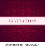 Invitation vector red ornament card - stock vector