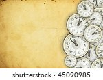 Old clock on the old paper - stock photo