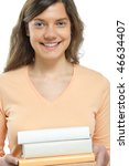 Woman, book, smiling - stock photo