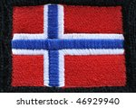 Red, White, and Blue Embroidered Flag of Norway - stock photo