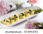 Baked polenta appetizers - stock photo