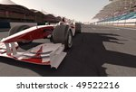 high quality 3d rendering of a formula one race car on track - own car design - no copyright/trademark infringement - stock photo