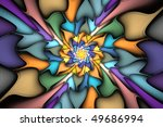 Multi-colored star burst element that looks like stained glass - stock photo