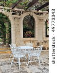 Mediterranean cafe setting - stock photo