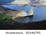 Galapagos lava landscape, the Pinnacle and Bartolome Island - stock photo