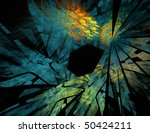 Colorful fractal broken glass abstract image isolated on black - stock photo